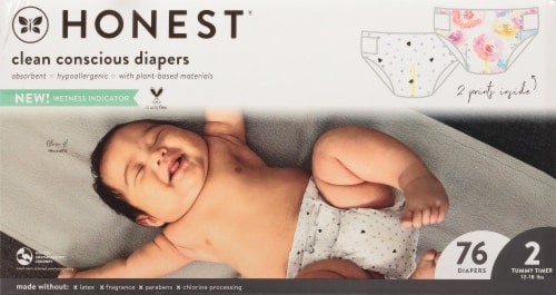 The Honest Co. Painted Feathers + Bunnies Size 2 Print Diapers Perspective: front