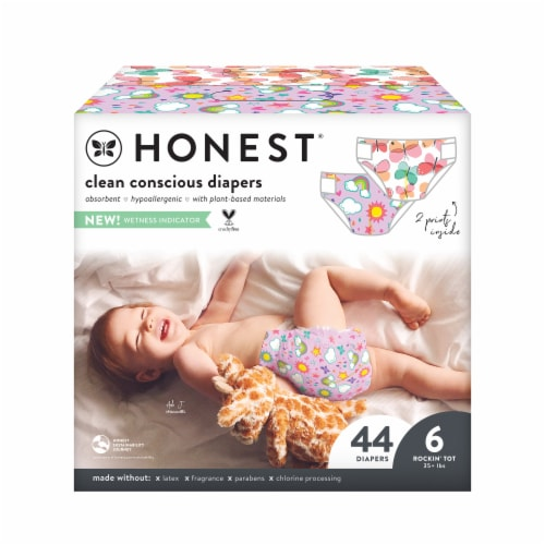 The Honest Co. Size 6 Strawberries + Bunnies Print Diapers Perspective: front