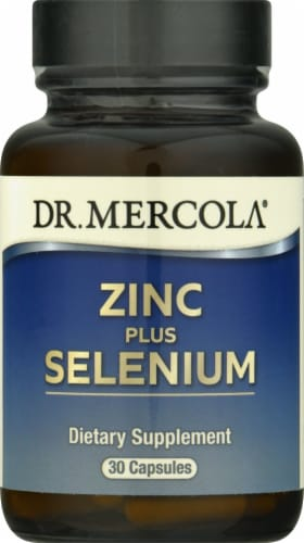 Mercola Zinc Plus Selenium Supplement Capsules Perspective: front