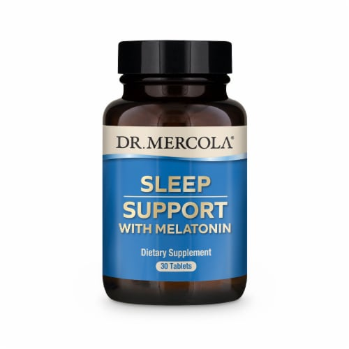 Mercola Sleep Support with Melatonin Supplement Tablets Perspective: front