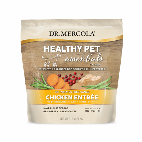 Mercola Dehydrated Raw Dog Food Free Range Chicken Entree Perspective: front