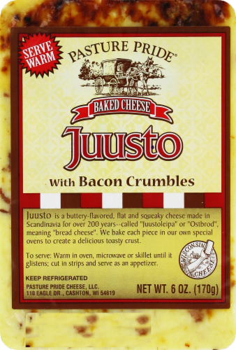 Pasture Pride Juusto Cheese With Bacon Crumbles Perspective: front