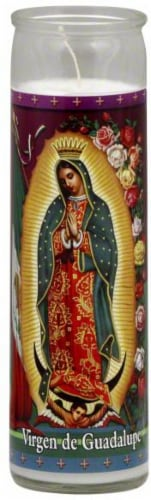 St. Jude Candle Company Virgen de Guadalupe Glass Jar Candle - White Perspective: front