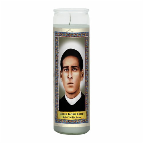 St. Jude Candle Company Santo Toribio Romo Candle - Light Blue Perspective: front