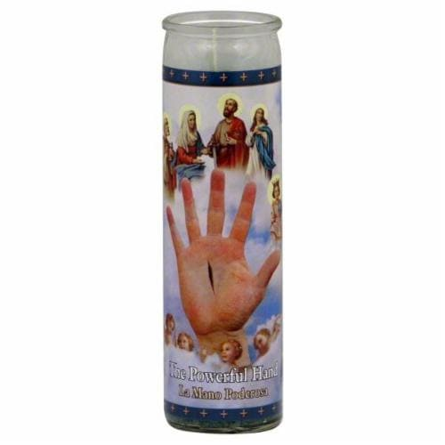 St. Jude Candle Company La Mano Poderosa Candle Perspective: front