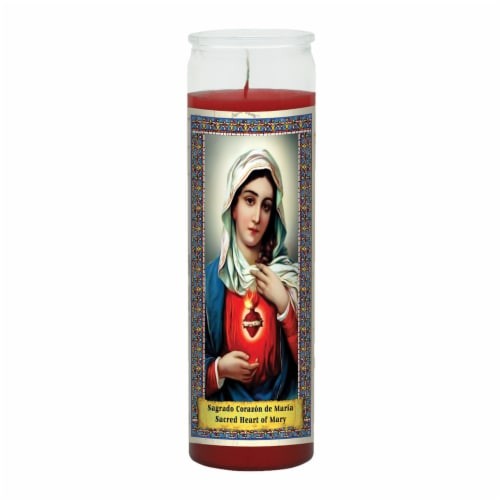 St. Jude Candle Company Sacred Heart of Mary Candle - Red Perspective: front