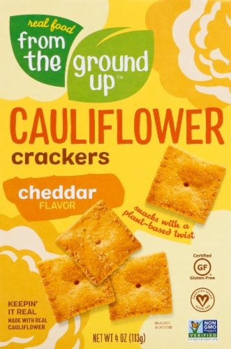 From The Ground Up Cheddar Cauliflower Crackers Perspective: front