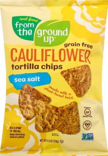 From The Ground Up Sea Salt Cauliflower Tortilla Chips Perspective: front
