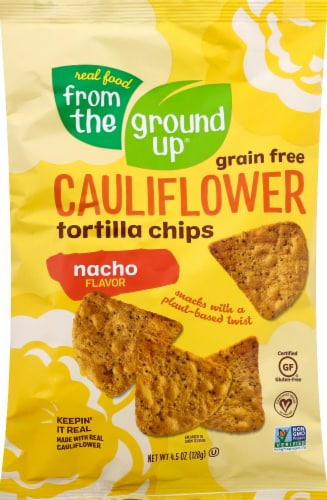 From The Ground Up Nacho Cauliflower Tortilla Chips Perspective: front