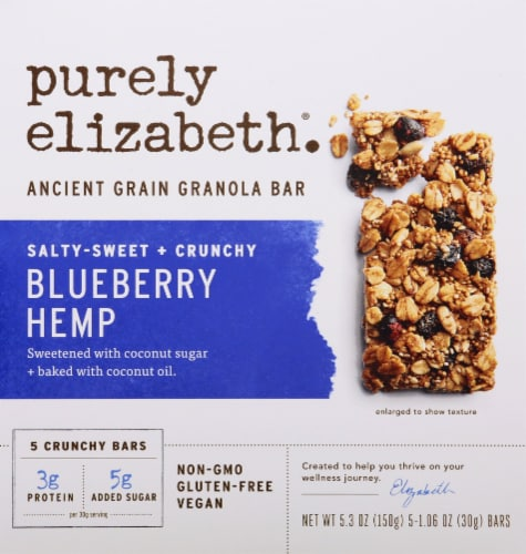Purely Elizabeth Gluten Free Blueberry Hemp Ancient Grain Granola Bars Perspective: front