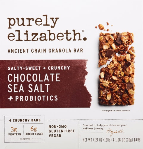 Purely Elizabeth Gluten Free Chocolate Sea Salt + Probiotics Ancient Grain Granola Bars Perspective: front