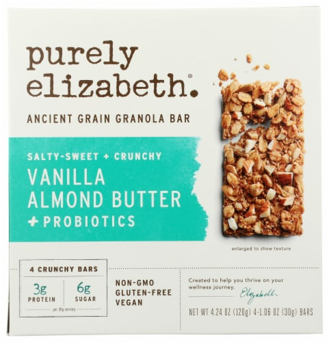 Purely Elizabeth Vanilla Almond Butter Ancient Grain Granola Bar with Probiotics Perspective: front