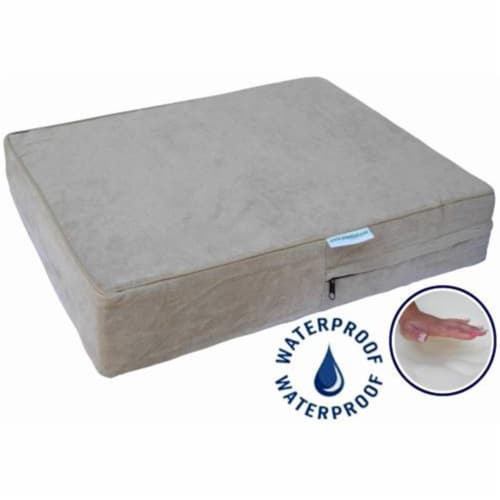 Go Pet Club AA-36 Solid 36 in.Memory Foam Orthopedic Dog Pet Bed with Waterproof Cover  Khaki Perspective: front