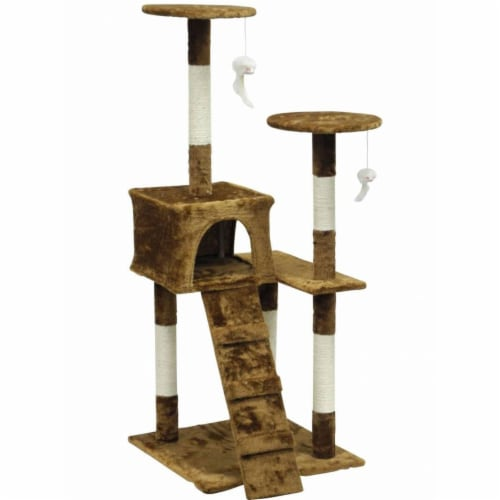 Homessity HC-010 Light Weight Economical Cat Tree Furniture, Brown Perspective: front