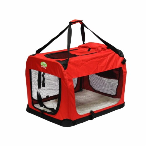 Go Pet Club CP-40 27 in. Foldable Pet Crate, Red Perspective: front