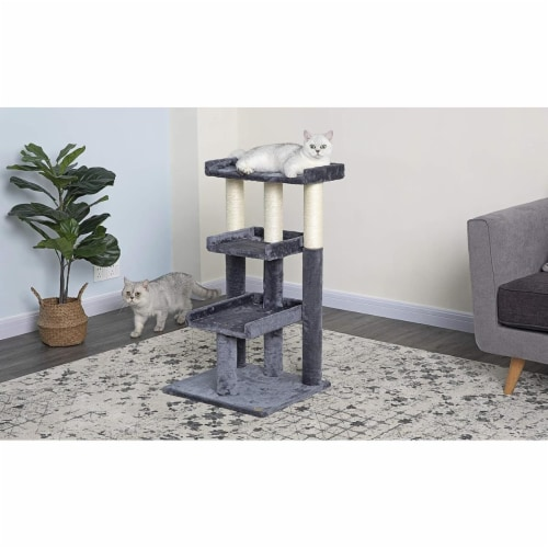 Go Pet Club F103 35 in. Classic Cat Tree Steps House with Sisal Covered Posts, Gray Perspective: front