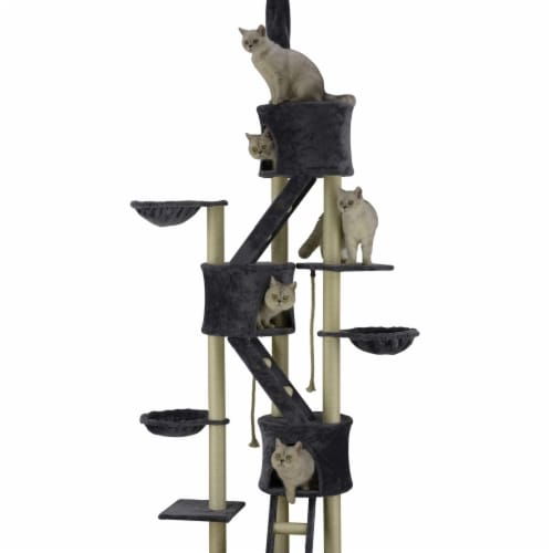 Go Pet Club FC33 106 in. Cat Tree House with Sisal Covered Scratching Posts, Gray Perspective: front