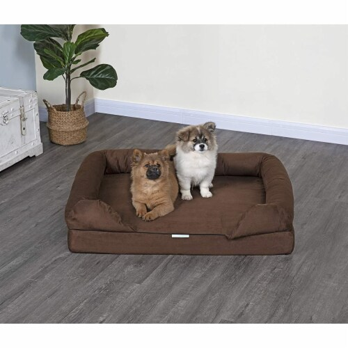 Go Pet Club EE-44 Go Pet Club Memory Foam Pet Dog Bed with Bloster, Brown Perspective: front