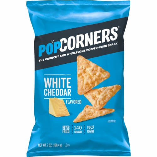 Popcorners White Cheddar Cheese Flavored Popped-Corn Snacks Perspective: front