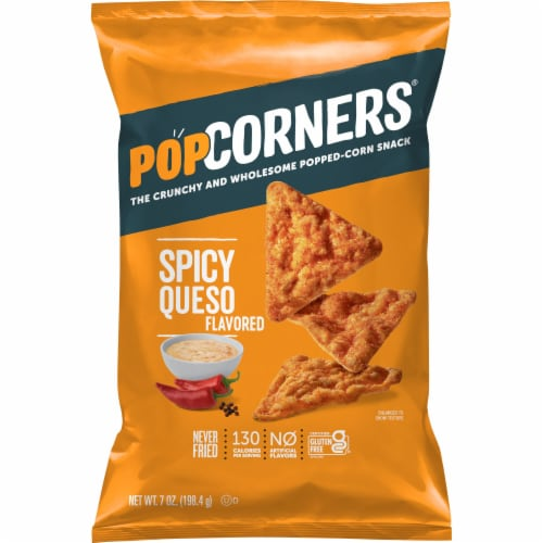 PopCorners Spicy Queso Cheese Flavored Gluten Free Popped Corn Snacks Perspective: front
