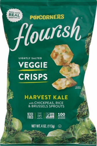Popcorners Flourish Harvest Kale Lightly Salted Veggie Crisps Perspective: front