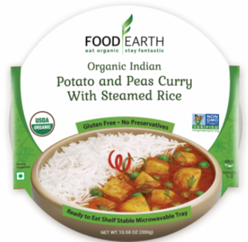 Food Earth Organic Indian Potato & Peas Curry with Steamed Rice Perspective: front