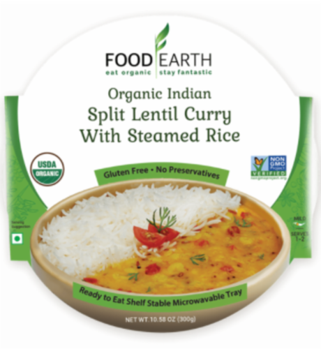 Food Earth Organic Indian Split Lentil Curry with Steamed Rice Perspective: front