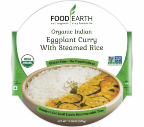 Food Earth Organic Indian Eggplant Curry with Steamed Rice Perspective: front