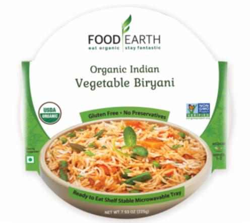 Food Earth Organic Indian Vegetable Biryani Perspective: front