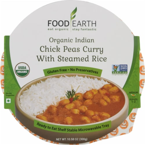 Food Earth Indian Organic Chick Peas Curry with Steamed Rice Perspective: front