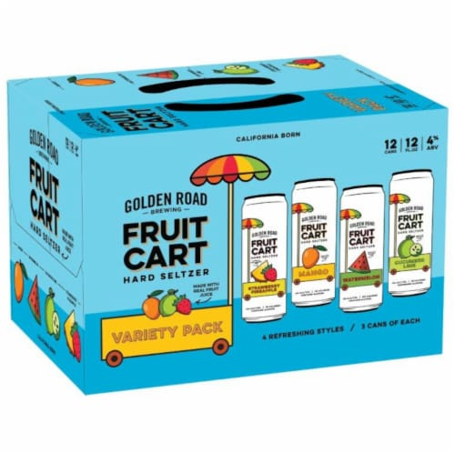 Golden Road Brewing Fruit Cart Hard Seltzer Variety Pack Perspective: front