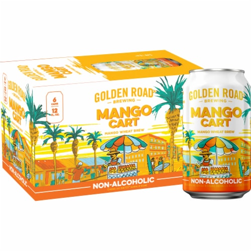 Golden Road Brewing Mango Cart Wheat Beer 6 Cans Perspective: front