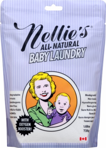 Nellie's All-Natural Baby Laundry Soda Pouch Perspective: front