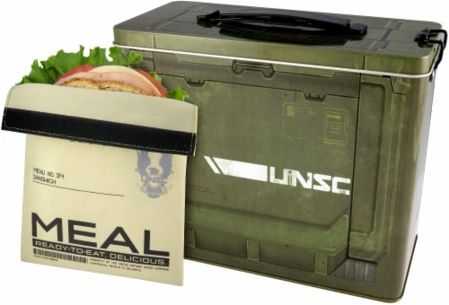 Halo Ammo Crate Tin Lunch Box With Reusable Sandwich Bag Perspective: front