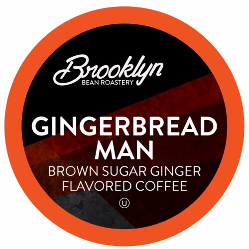 Brooklyn Bean Roastery Flavored Coffee Pods, Gingerbread Man, Four-24 Count Boxes Perspective: front