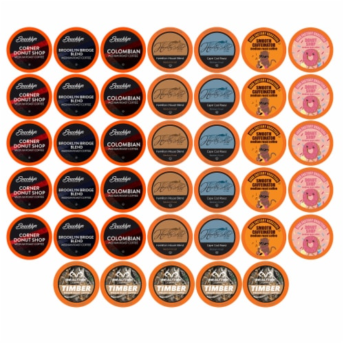 TWO RIVERS COFFEE Medium Roast Coffee Pods, Variety Sampler Pack, 40 Count Perspective: front