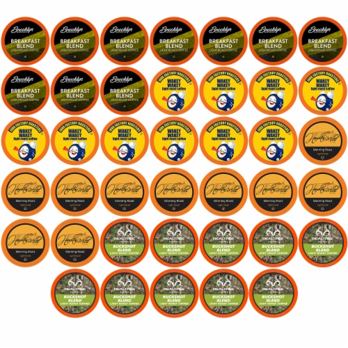 Two Rivers Coffee Light Roast Coffee Pods, Variety Sampler Pack, 40 Count Perspective: front
