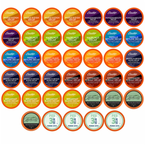 Two Rivers Coffee Decaf Pods for 2.0 Keurig K-Cup Brewers Variety Pack, 40 Count Perspective: front