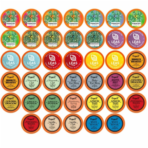 Two Rivers Assorted Tea Sampler Pack for Keurig K-Cup Brewers, 40 Count Perspective: front