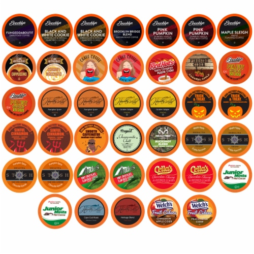Two Rivers Fall Flavors Single-Cup Sampler Pack for Keurig K-Cup Brewers, 40 Count Perspective: front