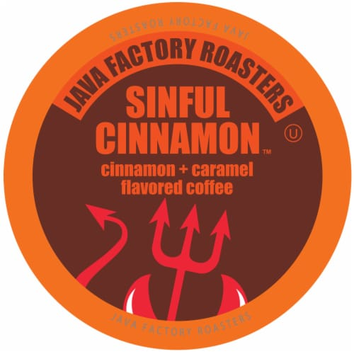 Java Factory Cinnamon and Caramel Flavored Coffee Pods, Sinful Cinnamon, 40 Count Perspective: front