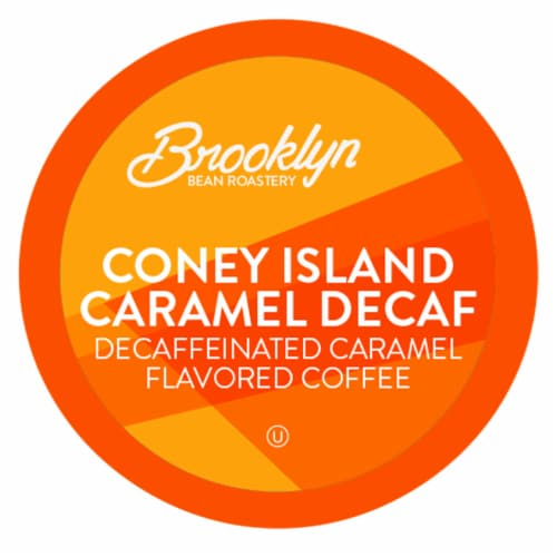 Brooklyn Beans Caramel Flavord DECAF Coffee Pods,  Coney Island Caramel, 40 Count Perspective: front