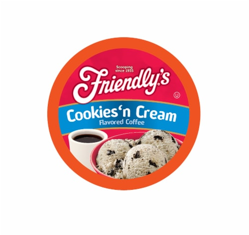 Friendly's Ice Cream Chocolate and Vanilla Flavored Coffee Pods, Cookies & Cream, 40 Count Perspective: front