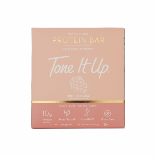 Tone It Up Birthday Cake Plant-Based Protein Bars Perspective: front