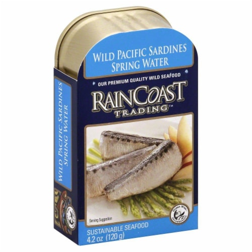 Rain Coast Trading Wild Pacific Sardines Spring Water Perspective: front