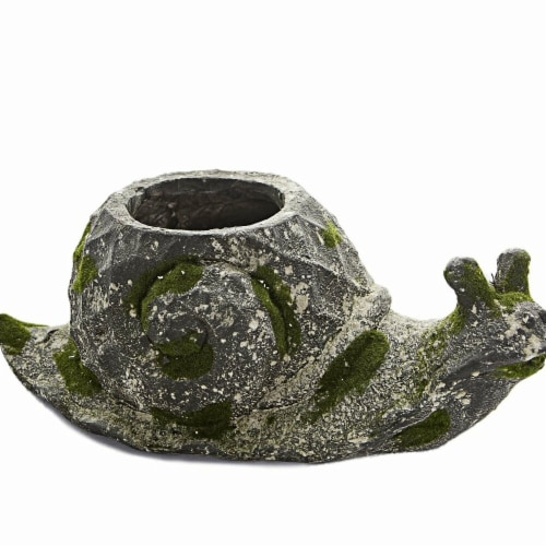 HISC 3762 Moss Animal Planter - Snail Perspective: front