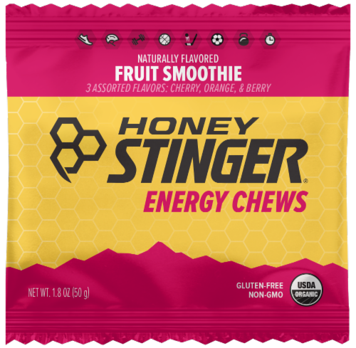 Honey Stinger Fruit Smoothie Organic Energy Chews Perspective: front