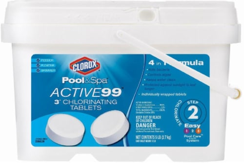 Clorox Pool & Spa Step 2 Active99 3-Inch Chlorinating Tablets Perspective: front