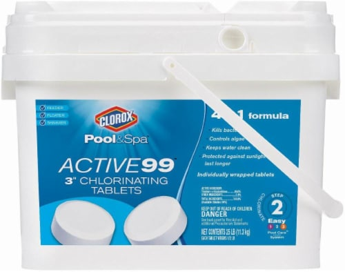 Clorox Pool & Spa Active99 3-Inch Step 2 Chlorinating Tablets Perspective: front