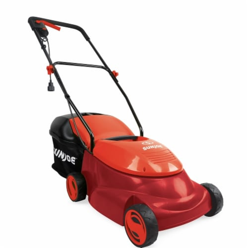 Snow Joe MJ401E-PRO-RED 14 in. 13A Electric Lawn Mower Side Discharge Chute, Red Perspective: front